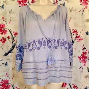 Tommy Bahama Boho Festival Peasant Top Size L